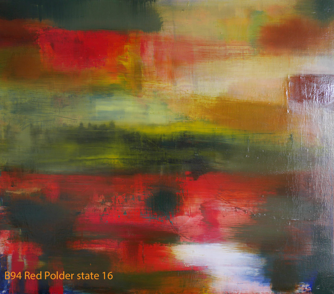 Abstract Oil Painting Red Polder by Paul Hollingsworth - Painting State 16 of 21
