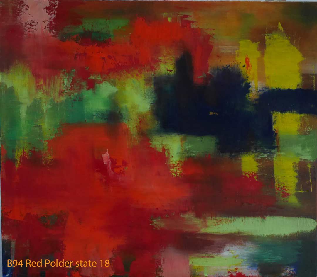Abstract Oil Painting Red Polder by Paul Hollingsworth - Painting State 18 of 20