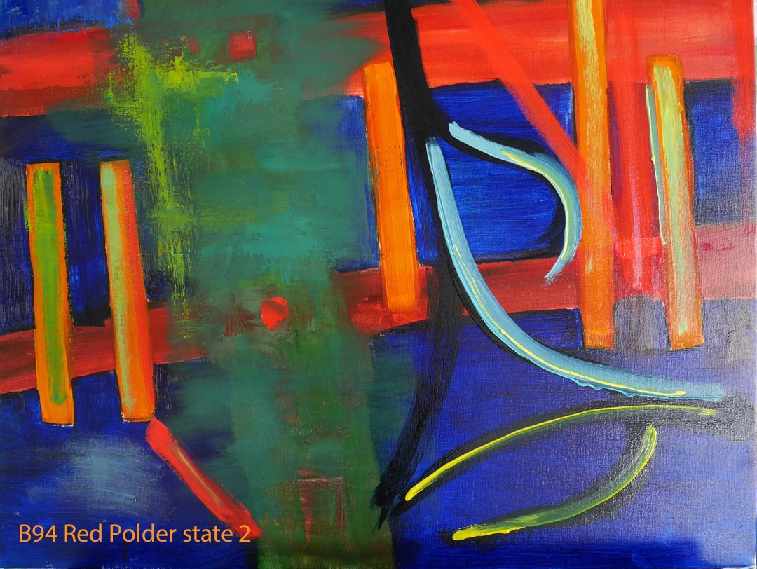 Abstract Oil Painting Red Polder by Paul Hollingsworth - Painting State 2 of 21