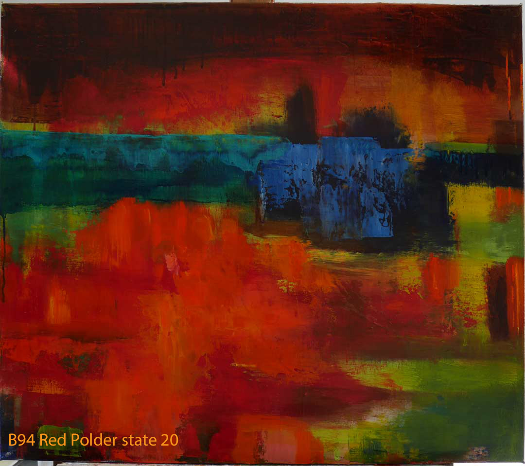 Abstract Oil Painting Red Polder by Paul Hollingsworth - Painting State 20 of 20