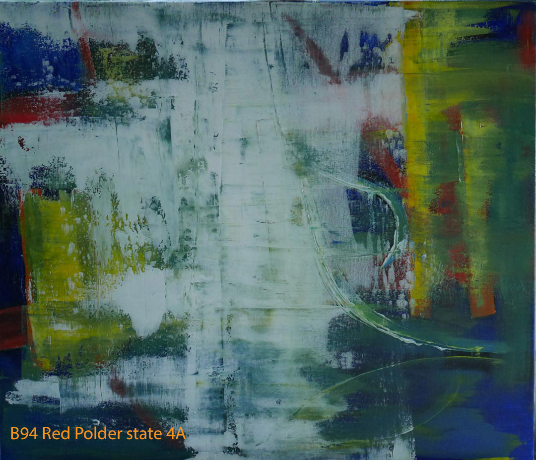 Abstract Oil Painting Red Polder by Paul Hollingsworth - Painting State 4 of 21
