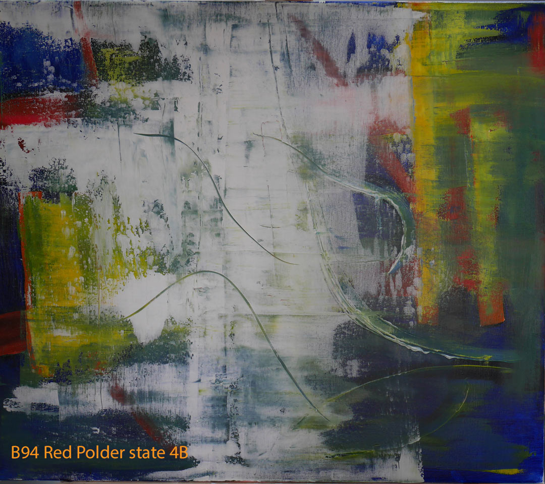 Abstract Oil Painting Red Polder by Paul Hollingsworth - Painting State 4B of 21
