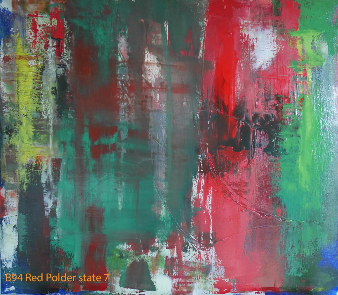 Abstract Oil Painting Red Polder by Paul Hollingsworth - Painting State 7 of 21