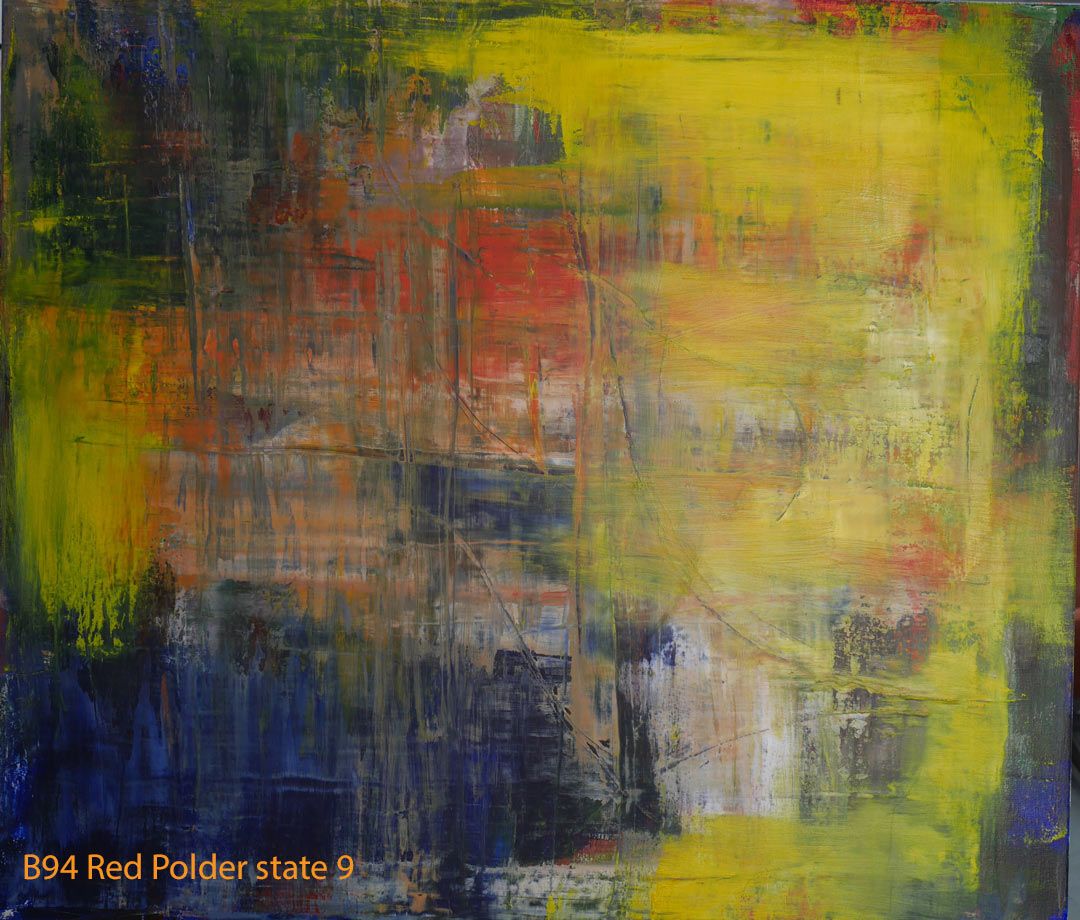 Abstract Oil Painting Red Polder by Paul Hollingsworth - Painting State 9 of 21