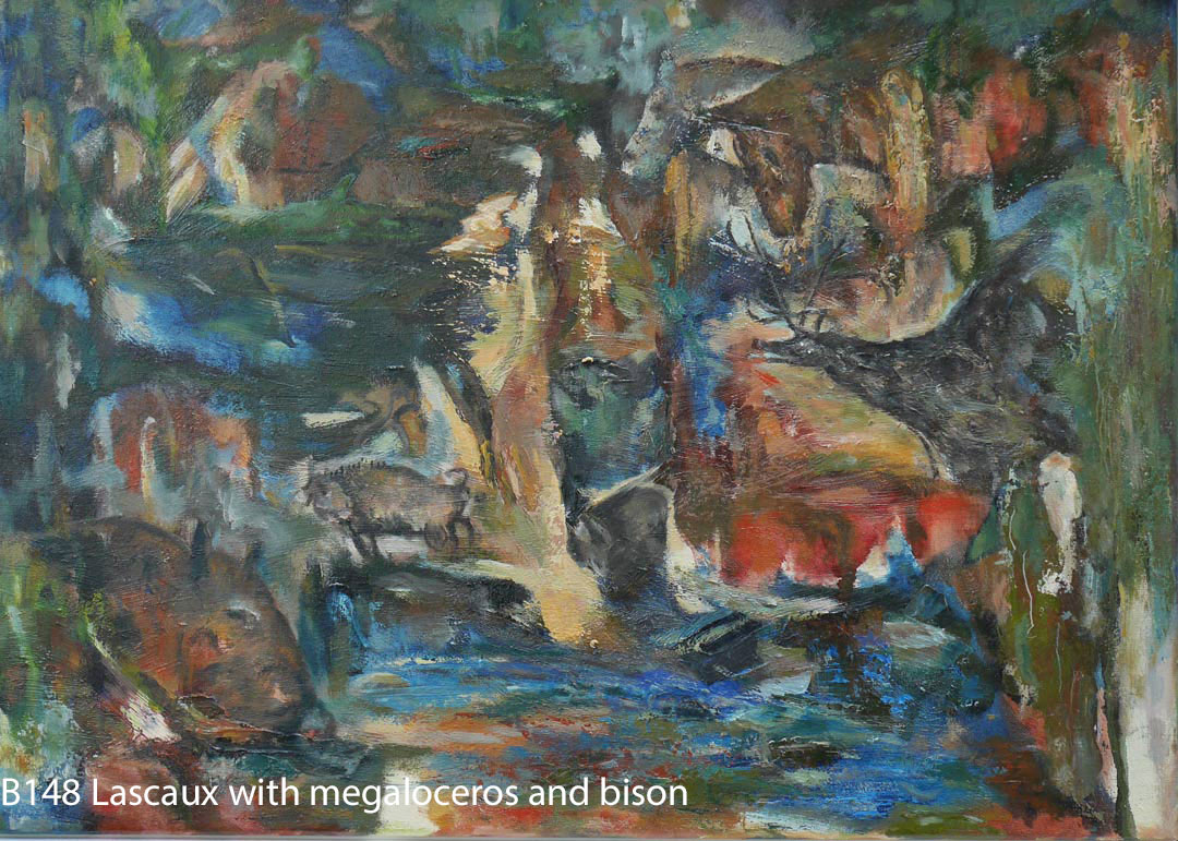 B148 Lascaux with megaloceros and bison canvas 50x70cm Hollingsworth Paul May18. Oil Paintings by Paul Hollingsworth.