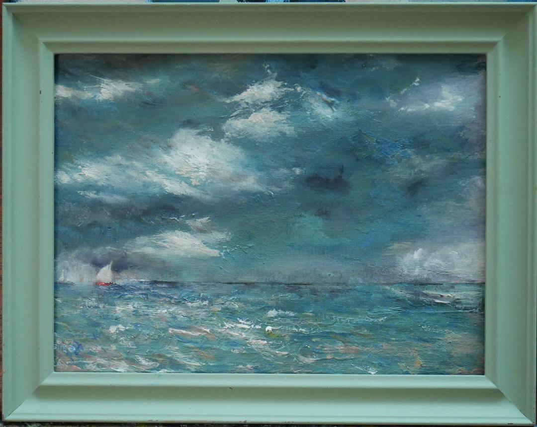 B117 Dark sky stormy sea off Oostende board 18x24cm 25Aug2019. Oil Paintings by Paul Hollingsworth.