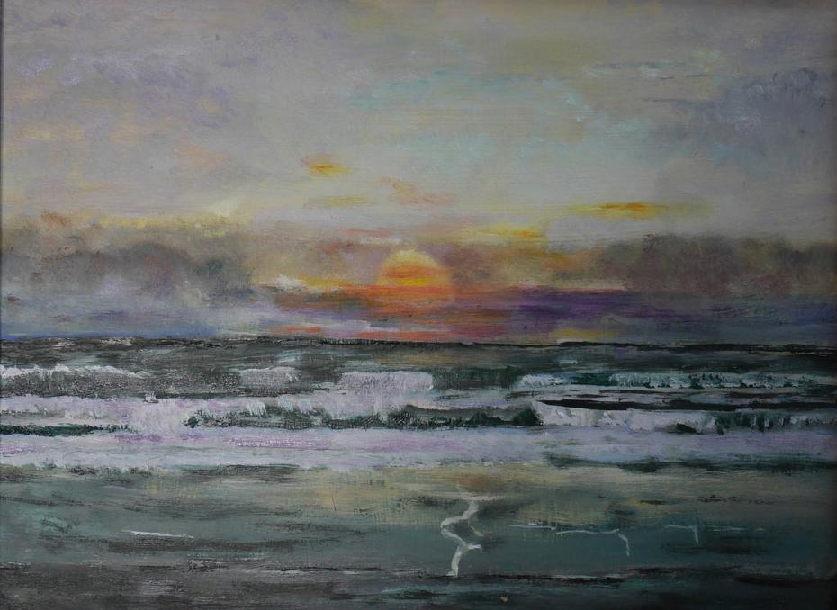 B172 Vlaanderen zonsondergang board 16x24cm 27Jul2018. Oil Paintings by Paul Hollingsworth.