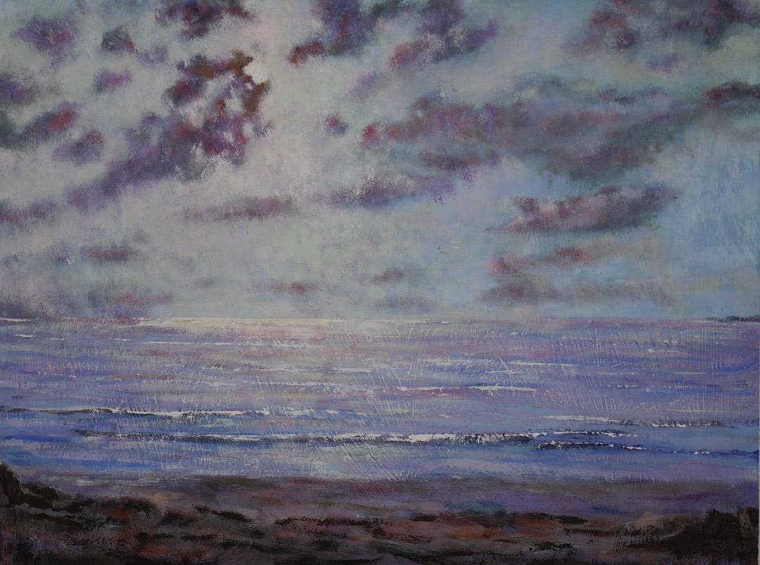 B183 Moonlight board 30x40cm wip25Aug2019. Oil Paintings by Paul Hollingsworth.