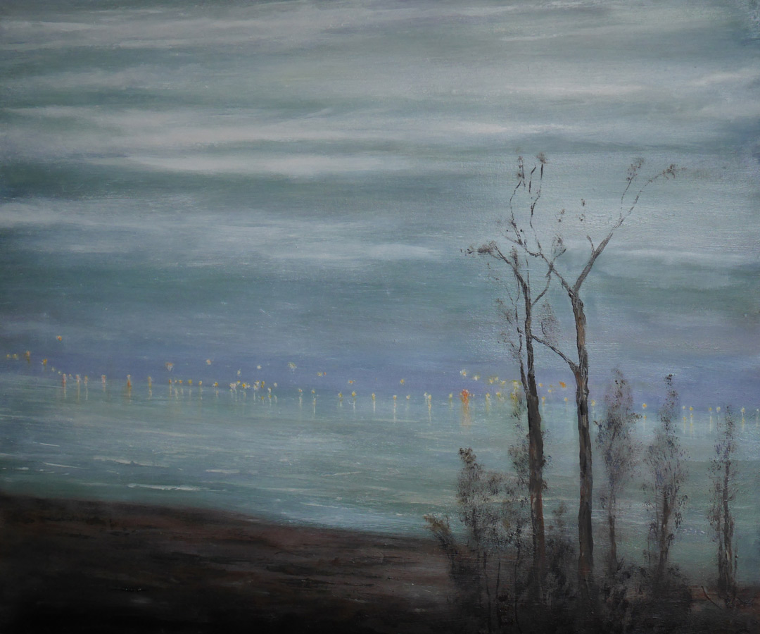 B191 Zonsondergang over de Schelde board 51x61cm wip6Apr2019 copy. Oil Paintings by Paul Hollingsworth.