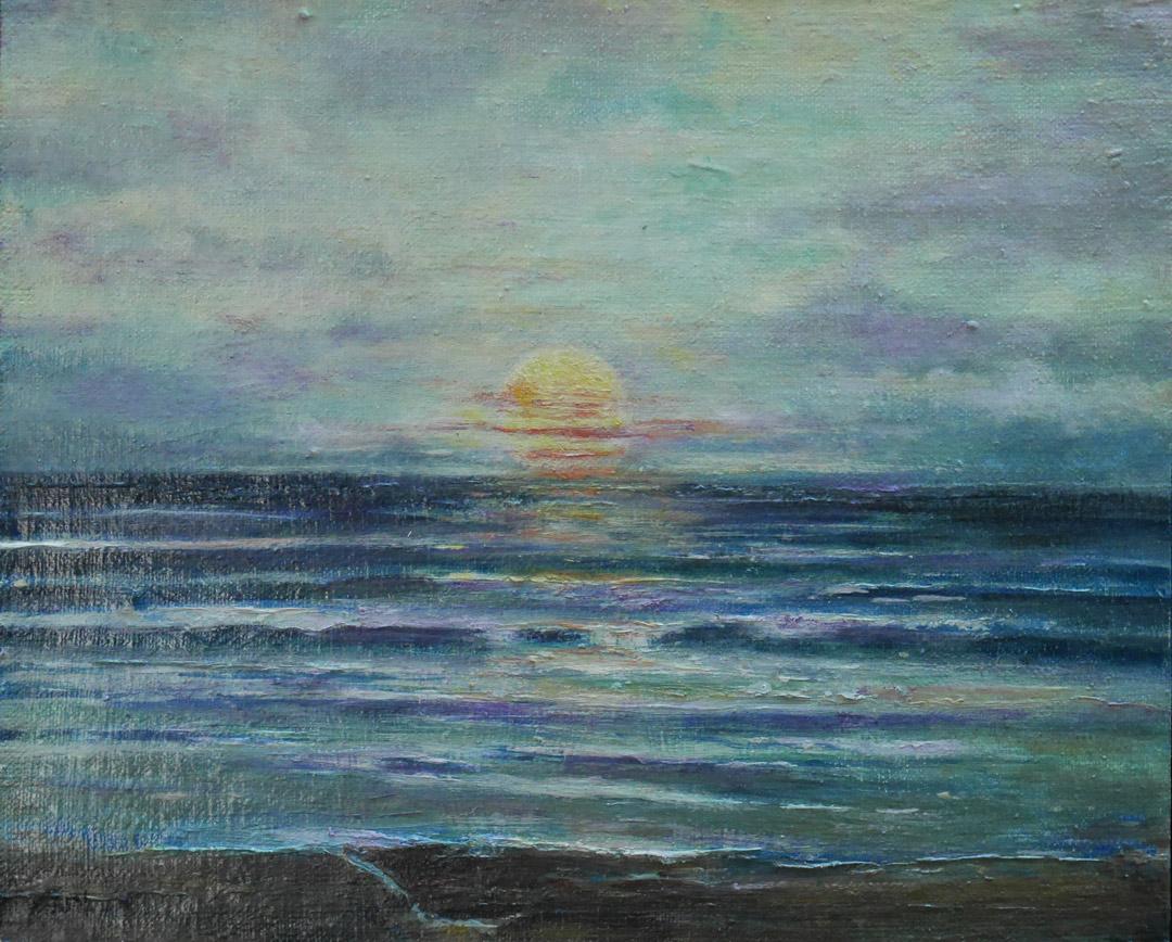 B194 Green glow sun sinking rapidly board 23x28cm 25Aug2019. Oil Paintings by Paul Hollingsworth.