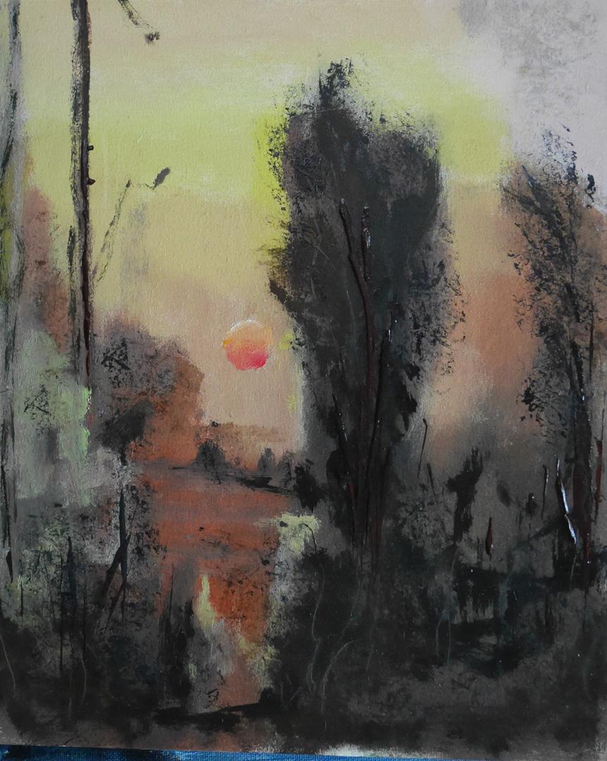 Nr247 Scarlet smudge board 28x23cm 1Sep2019. Oil Paintings by Paul Hollingsworth.