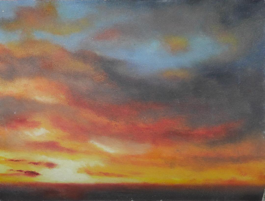 Nr257 Glazed sunset board 30x40cm wip 11Jan2019 copy. Oil Paintings by Paul Hollingsworth.