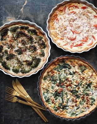 Spinattærte, tomattærte og broccolitærte