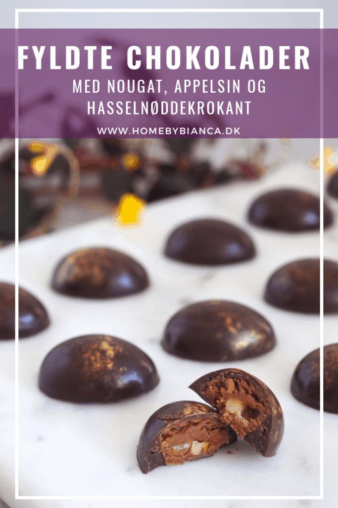 Fyldte chokolader med nougat, appelsincurd og hasselnøddekrokant