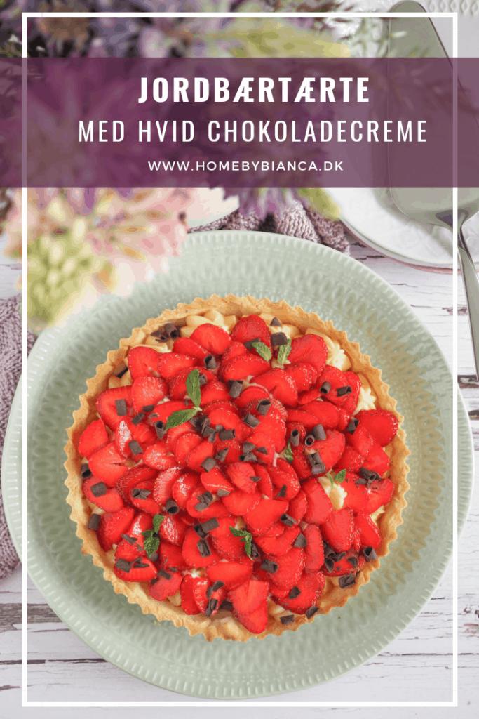 Jordbærtærte med hvid chokoladecreme