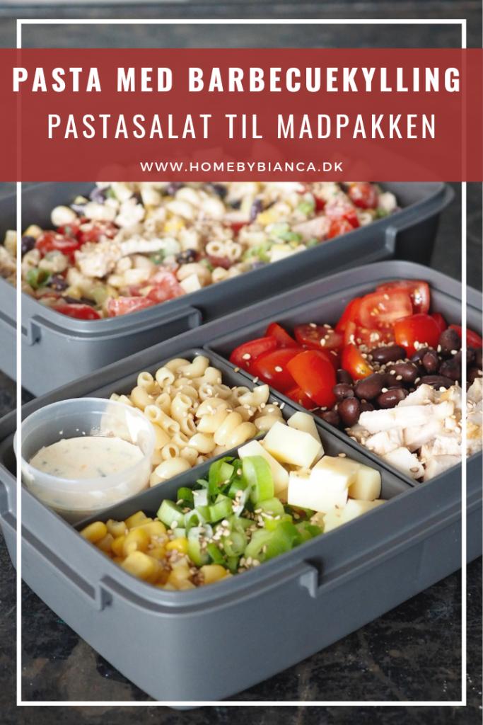 Pasta med barbecuekylling - pastasalat til madpakken