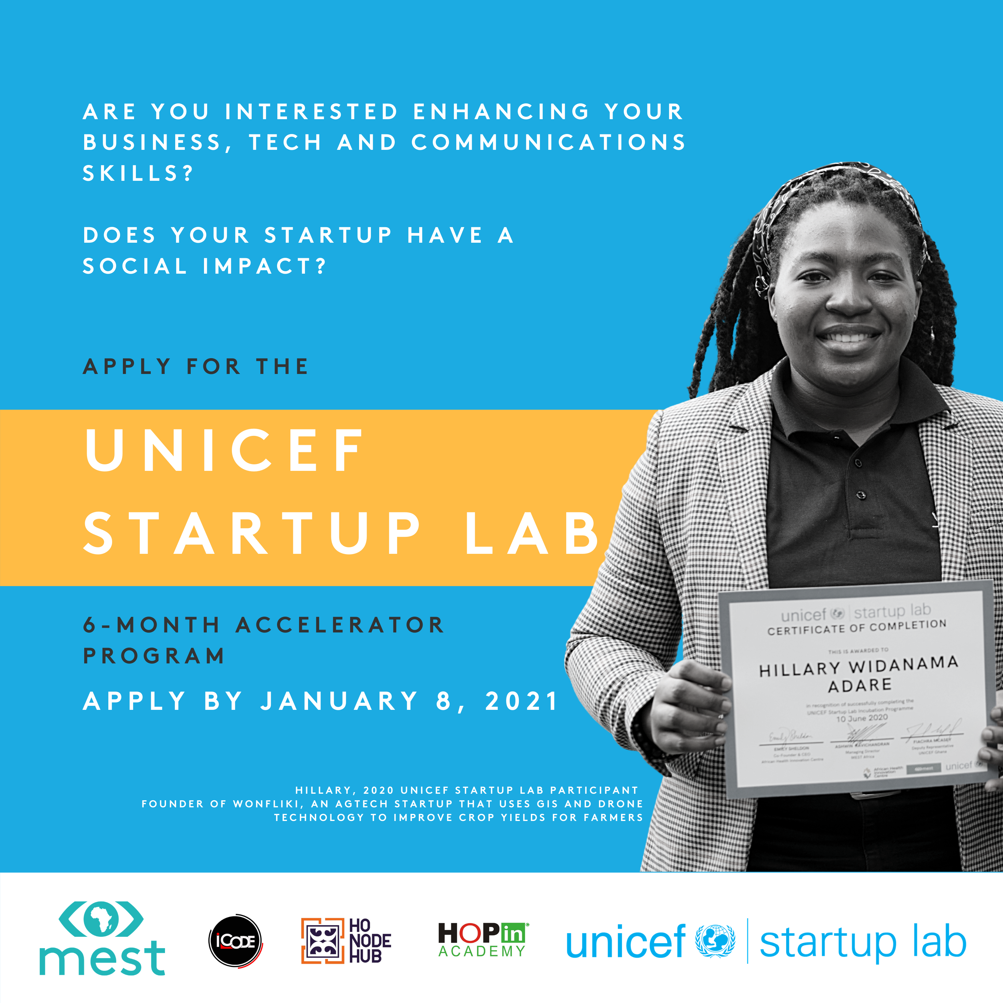 Open Applications for UNICEF Startup Lab 2021