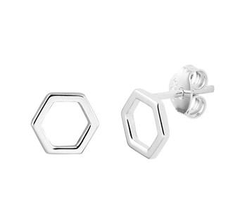 zilveren oorknoppen zeshoek