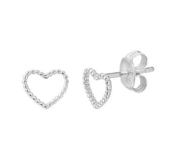 zilveren oorknoppen in hart