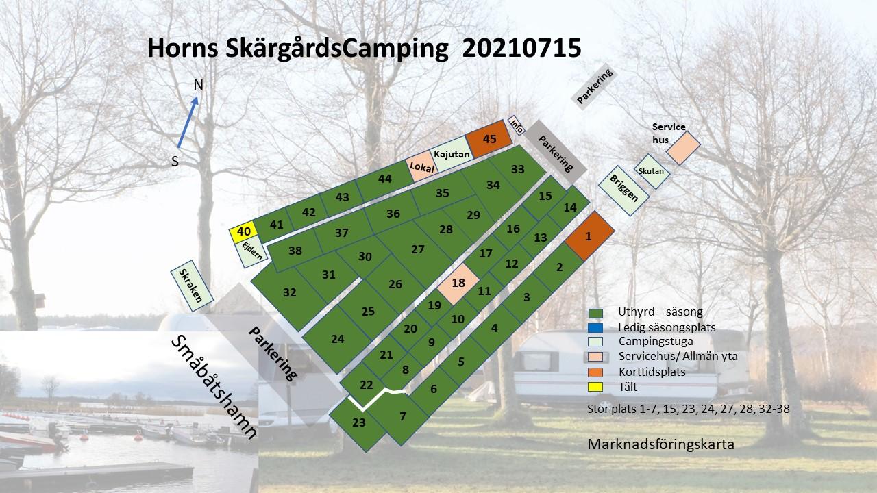 Karta över säsongsplatser på Horns Skärgårdscamping