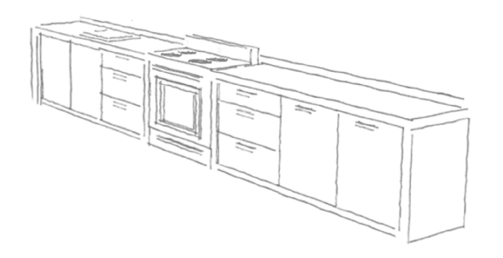 Schets van een meubel