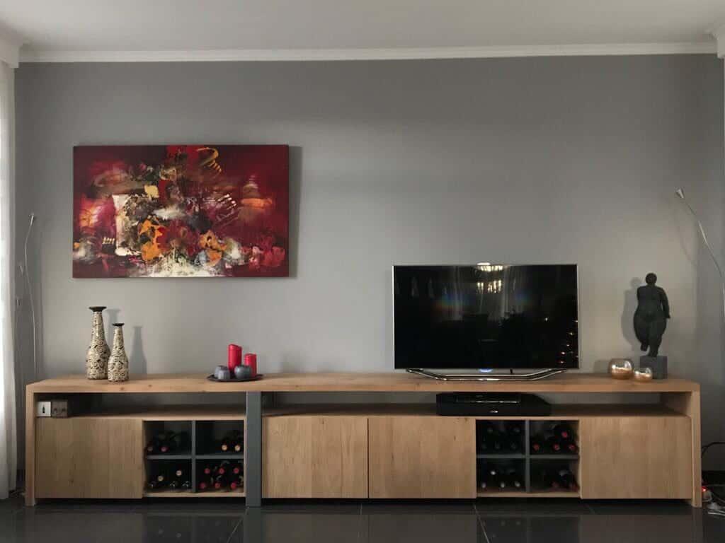 kasten Eiken tv meubel met wijnrekken|hout en vorm