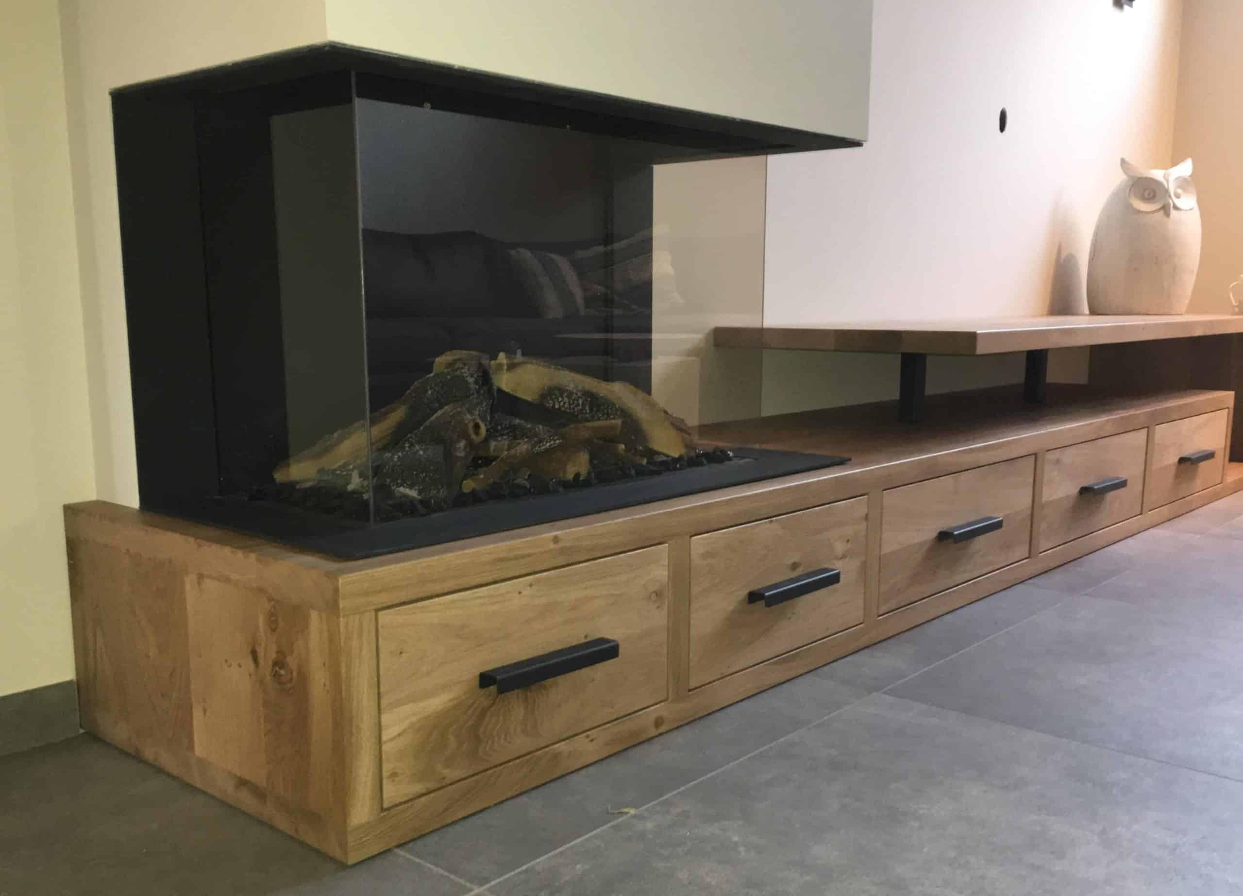 kasten Eiken haardombouw/tv meubel castle brown|hout en vorm