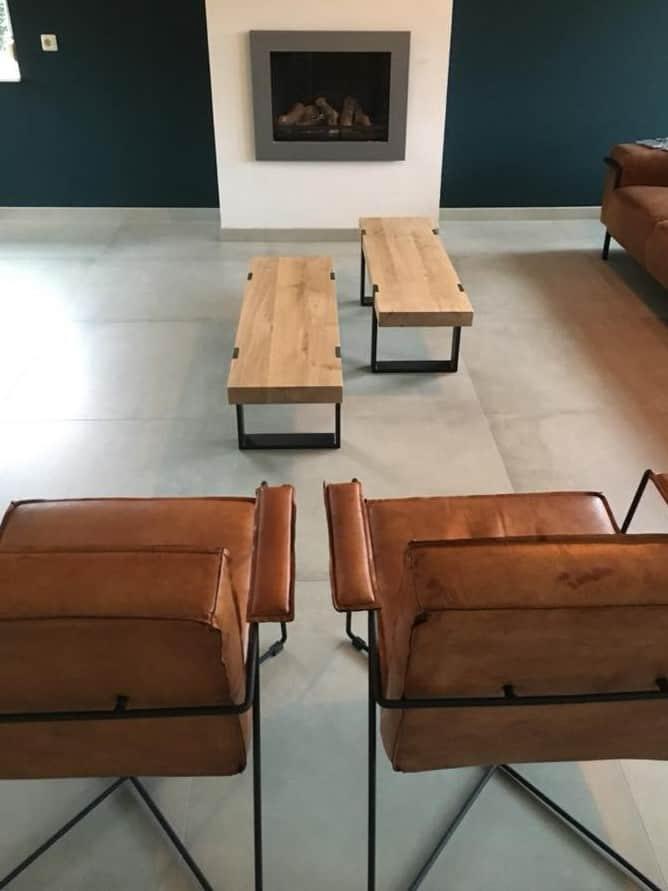 tafels salontafel met stalen frame   Hout en Vorm