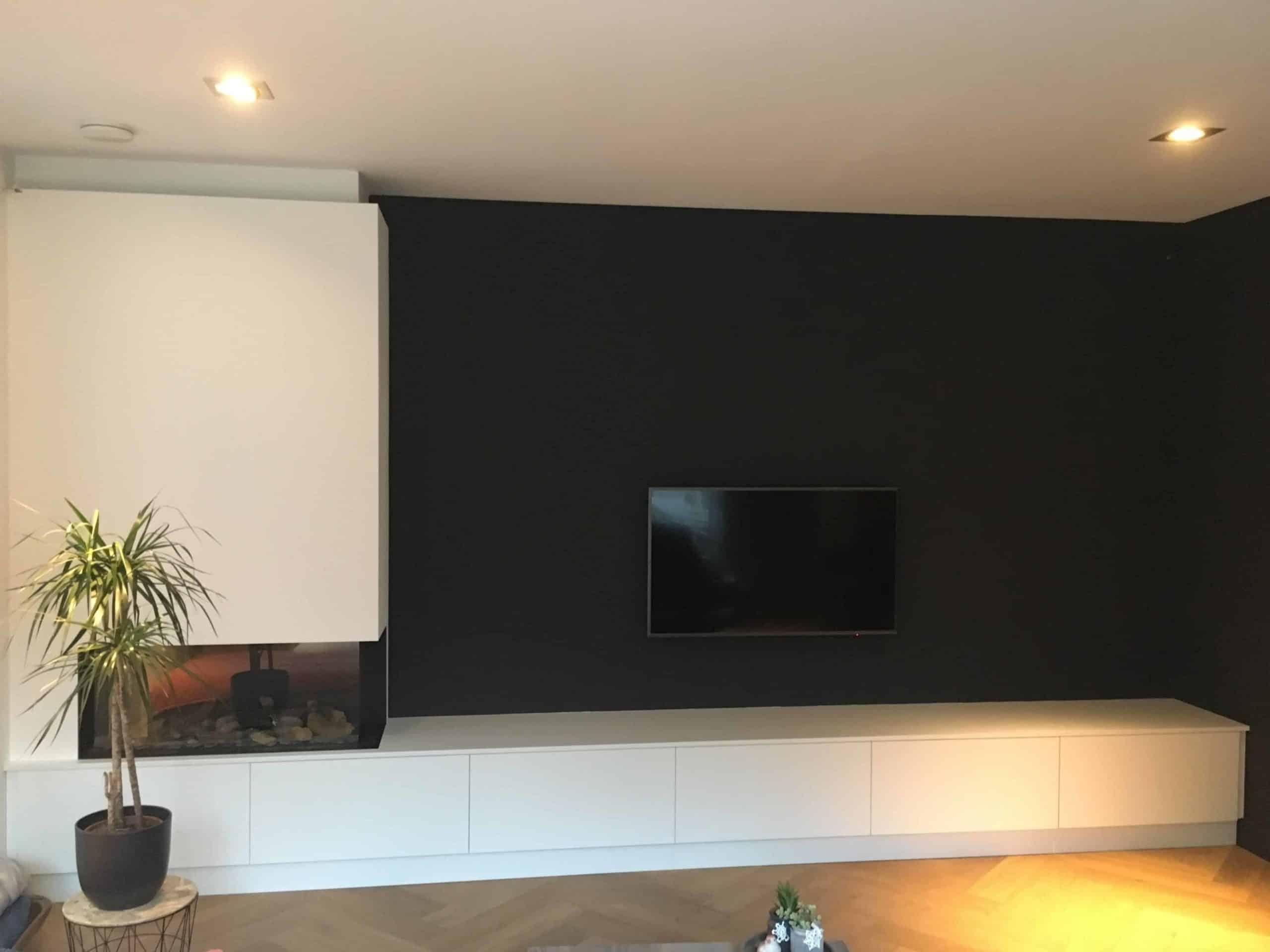 kasten Tv meubel plaatmateriaal met haardombouw| hout en vorm