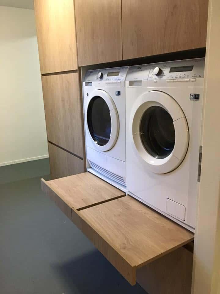 Kast berging met wasmachine en droger oplossing|hout en vorm