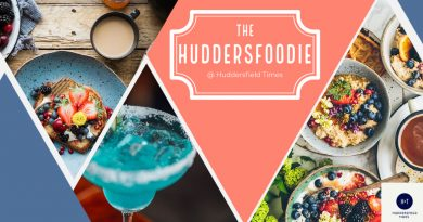 HuddersFoodie Logo - colourful and bold with images of food and cocktails in the background