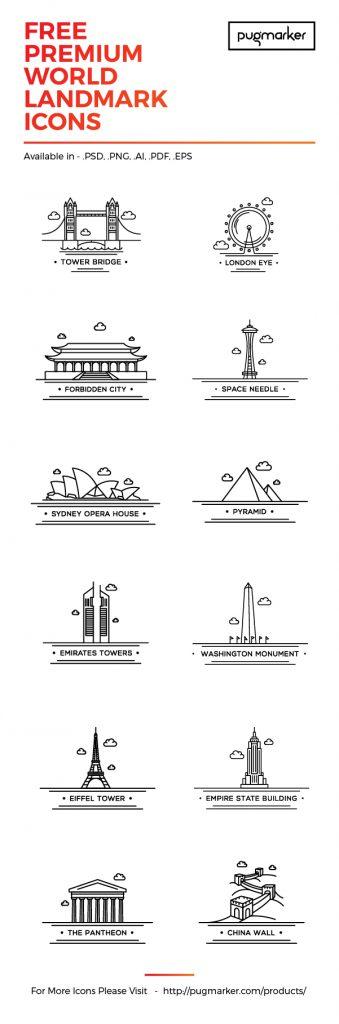 Gratis-landmark-iconen-PowerPoint-Word