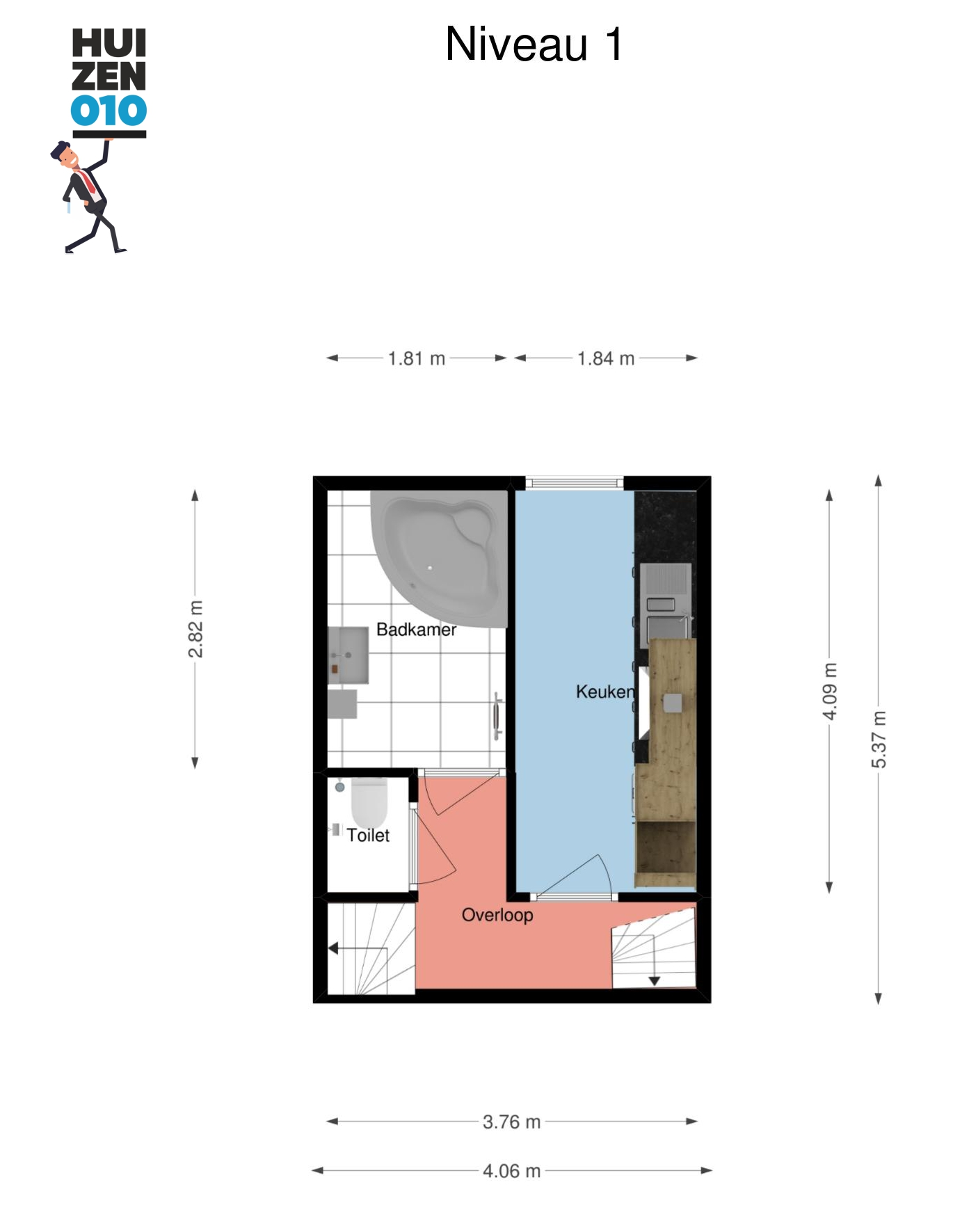 Plattegrond Frederikstraat 77 Rotterdam HUIZEN010