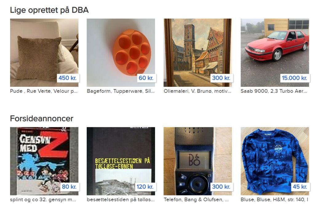 Som du kan se sælges alt muligt på DBA (den blå avis)