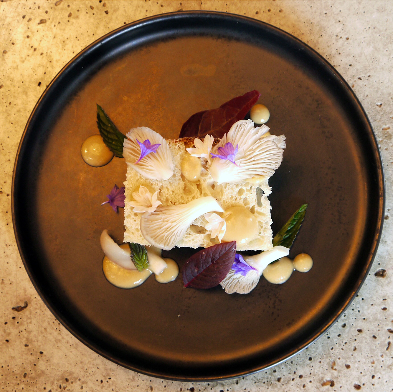 Sourdough Focaccia, Whipped Miso & Lacto-Fermented Oyster Mushrooms.