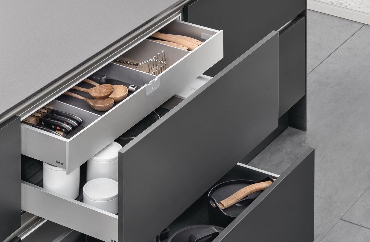 equipamiento para cocinas de diseño SieMatic interior cajones
