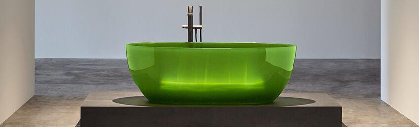 Antonio Lupi bañera cristalmood color verde con transparencia y brillo