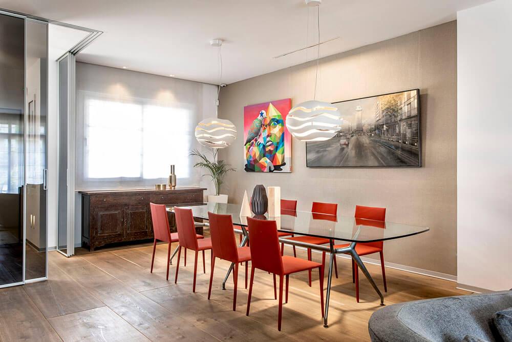Mobiliario de diseño Rimadesio Paneles Velaria y Mesa manta Proyecto integral interiorismo los Madroños