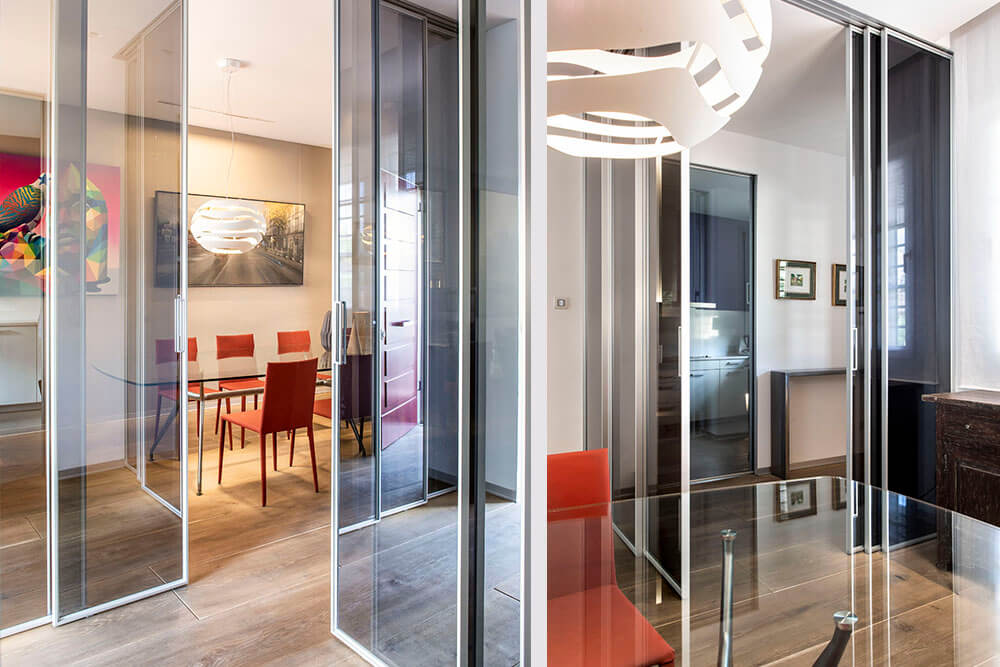 Mobiliario de diseño Rimadesio Paneles Velaria Proyecto integral interiorismo los Madroños