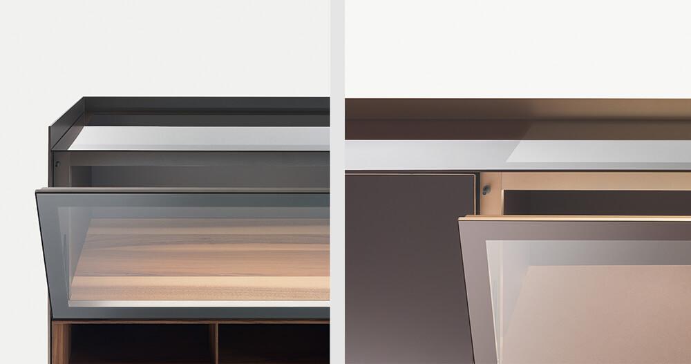 Rimadesio Self Bold, el aparador con perfil de aluminio horizontal y luz led
