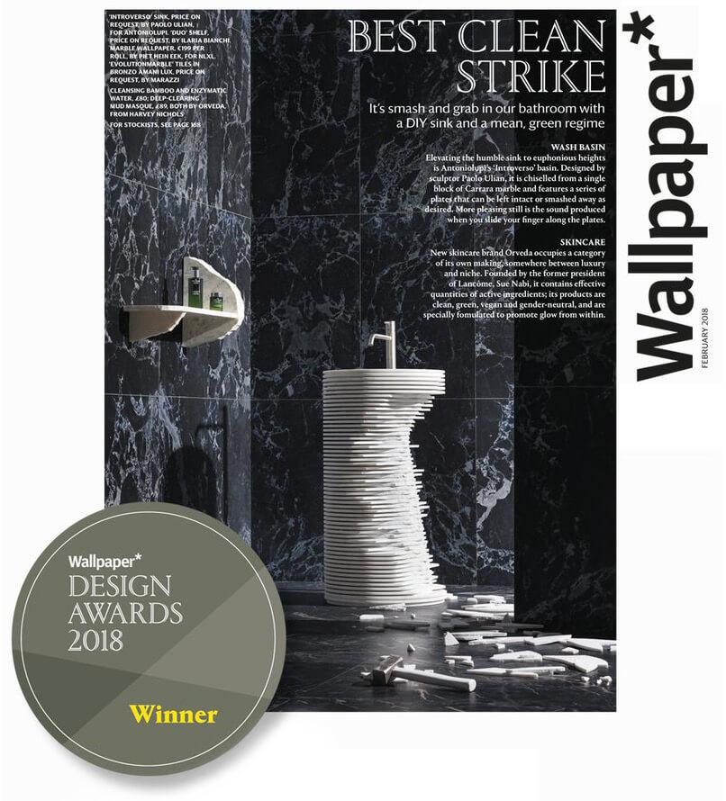 premio wallpaper magazine Antonio Lupi lavabo introverso