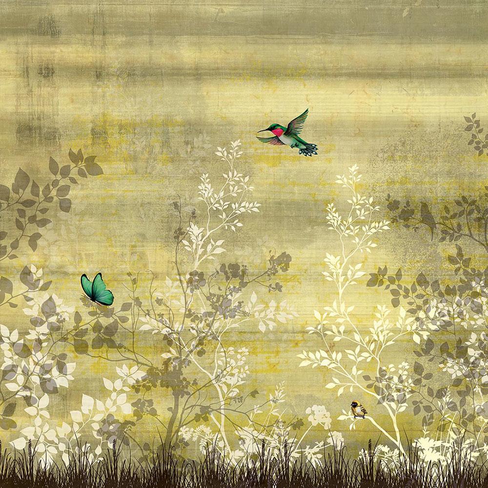 papel pintado de la colección Inediti Cruise de Inkiostro colibrí