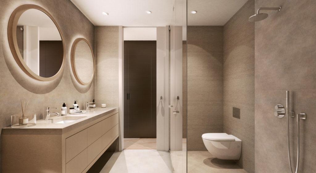 baño de diseño estilo contemporaneo con armario Rimadesio al fondo