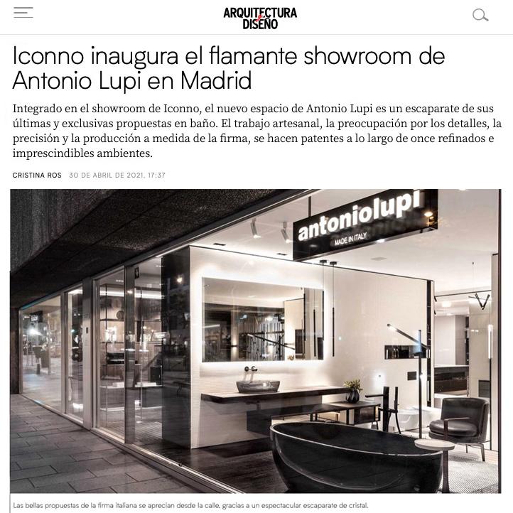 Nuevo showroom oficial de antoniolupi en Iconno Madrid, O'Donell.