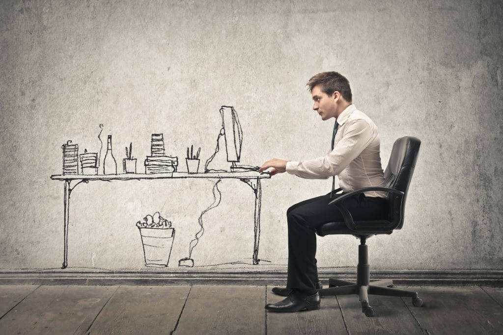 Entrepreneur working in virtual office