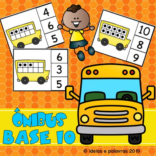 Onibus base 10 atividade de alfabetização Matemática ideiasepalavras.com.br
