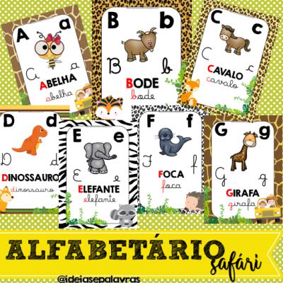 26 Pôsteres Alfabetário Safári A4 para enfeitar a sala de aula | Educação infantil