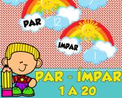 par ou impar 1 a 20 | ideiasepalavras.com.br | atividade de alfabetização matemática