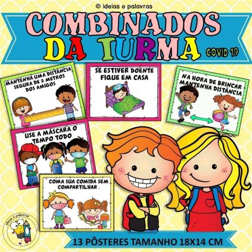 13 Pôsteres Combinados da Turma sobre Covid 19 para Educação Infantil