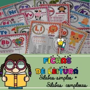 Fichas de Leitura | Simples e Complexas | 50 Fichas A4 | Atividade de Alfabetização